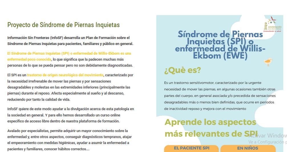 Estrenamos nuevo curso de formación sobre el Síndrome de Piernas Inquietas (SPI)