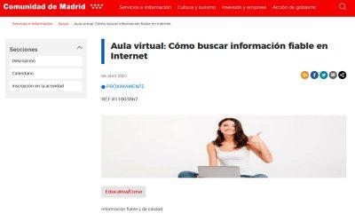 El próximo 6 de abril InfoSF imparte un aula virtual en la plataforma de la Escuela Madrileña de Salud